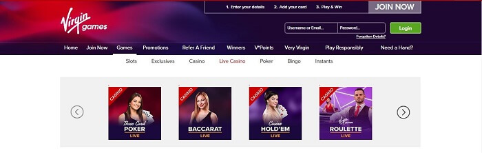 Virgin Games live casino