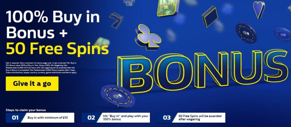 William Hill casino welcome offer