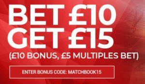 Matchbook bonus code is MATCHBOOK15