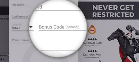 Location of the Matchbook bonus code box - MBMAX